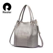 d1dfa598642ee REALER marke design frauen aus echtem leder tasche hohe qualität frauen  handtasche rot grau schwarz tote tasche weibliche leder .
