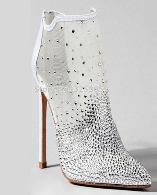b5d5cfc04097 ALMUDENA Silver Mesh Crystal Bling Bling Ankle Boots Pointed Toe Clear  See-through Stiletto Heel Pumps Sparkling Evening Shoes