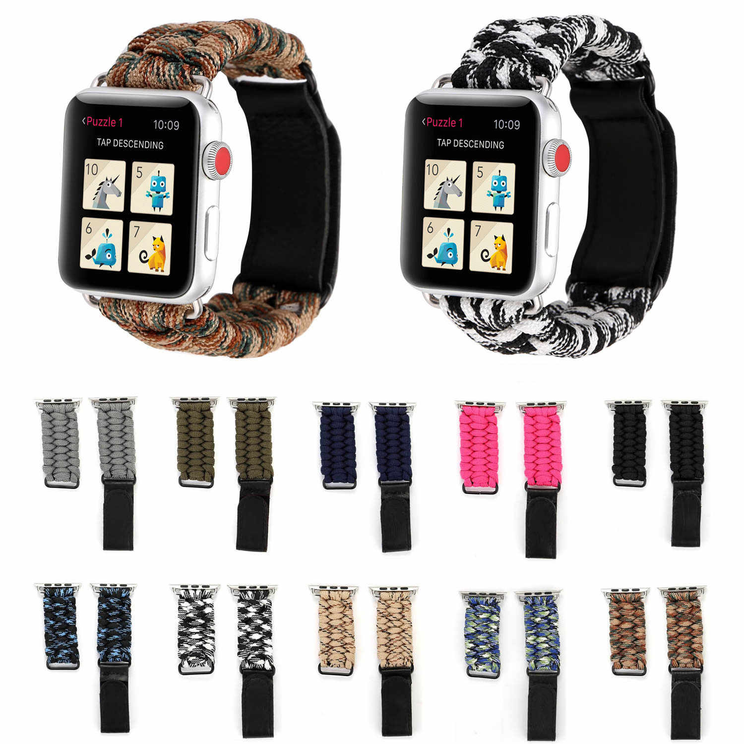 Untuk Apple Watch Woven Band 38 Mm 42 Mm 40 Mm 44 Mm Tali Nilon Survival Gelang Watch Band untuk apple Watch Series 5 4 3 2 1 Tali