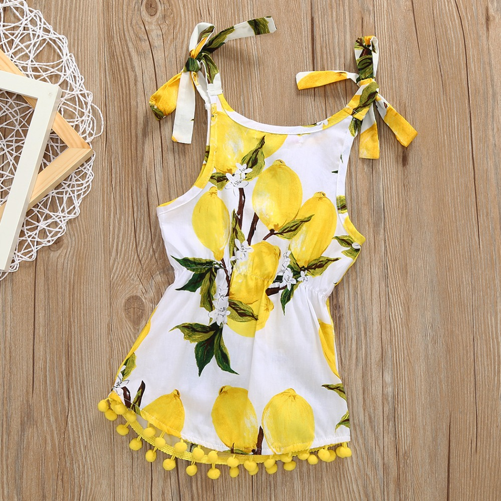 newtrade 321 Newborn Toddler Baby Girl Floral Romper Jumpsuit Sunsuit Clothes playsuit Outfit Girls Lemon Bowknot Strap Sleeveless 2017 new