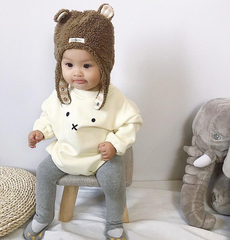 New Born baby bodysuit Winter Baby Girl Clothes bodysuit Kids Fall Long Sleeve Soft Warm Velvet Hooded Cute Rabbit Girl bodysuit girl