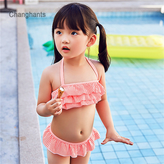 4981db25ba New Model Baby Swimwear Girls 2 Pieces Blue/Green/Orange Stripe with Frills  Layer Kids Bikini set Children Tankini 2-8Y