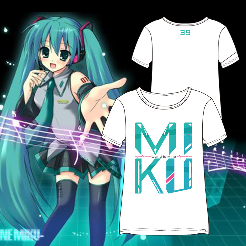 4Colors Anime VOCALOID Hatsune Miku Cute Printed Short Sleeve Unisex T-shirt Cosplay Costume Daily Casual Cotton Tee Shirts