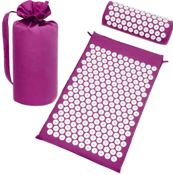 1 set Yoga Acupressure Massag Cushion Body Pain Stress Relief Acupuncture Massage Spike Yoga Mat with Pillow Body Massager yoga mat acupressure massage mat with pillow body pain stress relief acupuncture spike yoga cushion health massager care