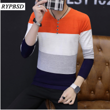 Patchwork Mens Sweater Warm Stripes Stitching Sweaters Casual Hit Color Patchwork V-neck Pullover Men Knitted Sweater for Men