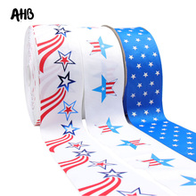 AHB 2Y/Bag Stars Printed Grosgrain Ribbons 75MM DIY Cheer Bows Materials Independence Day Decor Handmade Accessories цена и фото