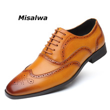 Misalwa 2019 Brogue Shoes Men for Wedding Handmade Leather Dress Waxed Lace up Sapato Oxford Italian Footwear Large Size