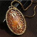 N286 Latest Fashion Autumn Amber Inlay Hollow Imitation Diamond Retro Sweater Chain Long Necklace Jewelry Factory Direct