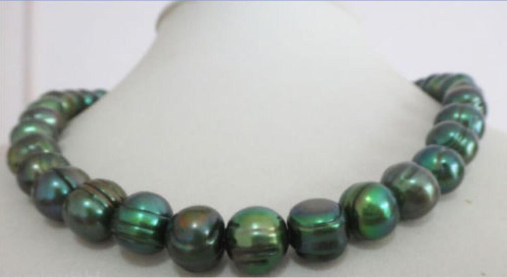 natural 11-12mm tahitian baroque peacock green pearl necklace 18>free shipping