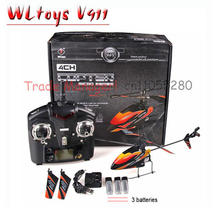 Free shipping WL rc helicopter V911 red blue and orange 2 4g 4ch outdoor rc toys