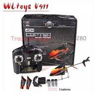 Gratis verzending WL rc helicopter V911 (rood blauw en oranje) 2.4g 4ch outdoor rc speelgoed Hot Air Model Speelgoed Afstand bestuurde voertuigen