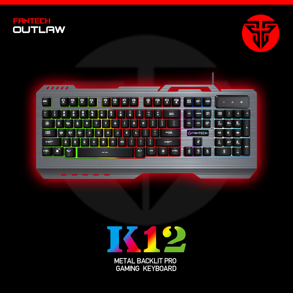 e519531b125 FANTECH K12 Gaming Keyboard USB LED Wired Keyboard Mechanical feel with USB  Powered Full 104 Key Rollover