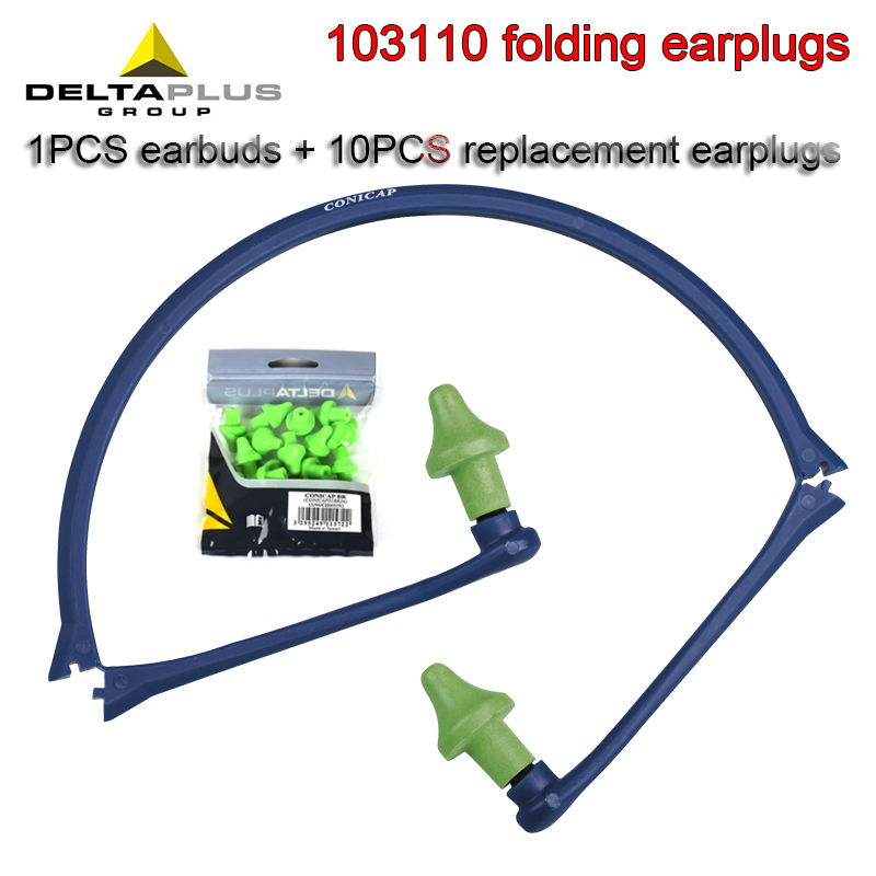 DELTAPLUS 103110 Folding Earplugs 1PCS Earbud Bracket + 10PCS Replacement Earplugs Noise Prevention 24SNR PU Earplugs