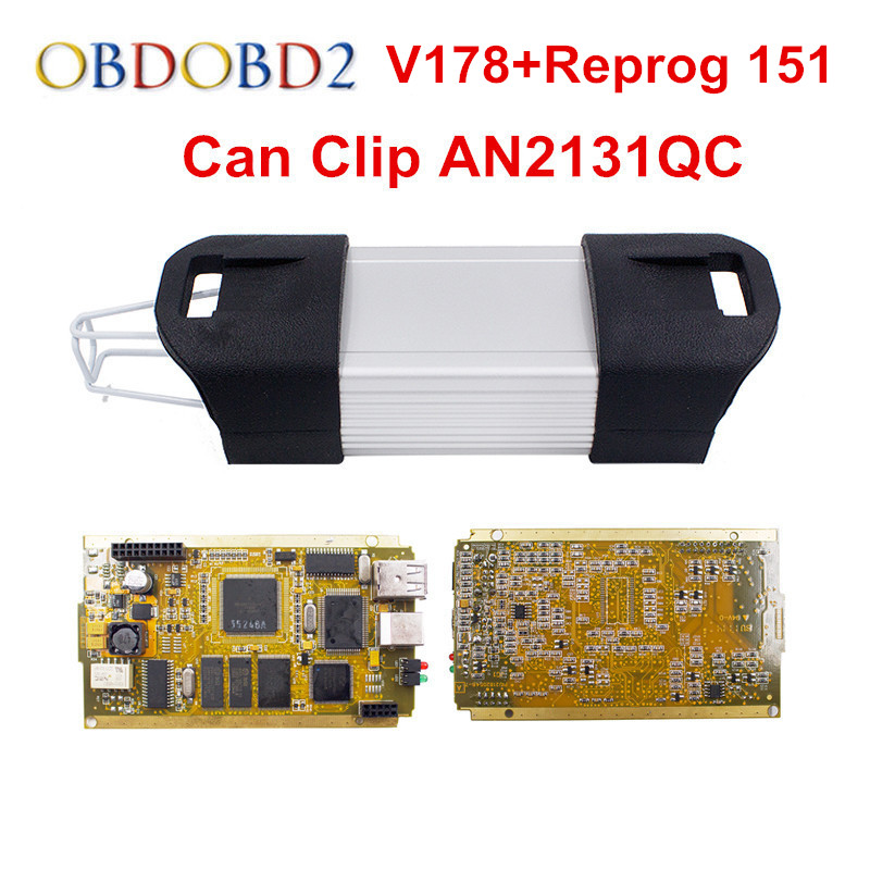 Full Chip Can Clip V178 OBD2 Diagnostic Tool With 15 Languages Can Clip Golden Side Full Chip PCB AN2131QC DHL Free Shipping for renault can clip v178 full chip cypress an2131qc reprog v151 obdii diagnostic interface can clip car diagnostic tool scanner