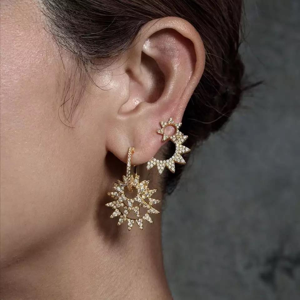 ZOZIRI marque 925 argent sterling monaco bijoux boucles d'oreilles pour femmes pleines de cz zircon tournesol étoile goutte longues boucles d'oreilles-in Boucles d'oreilles pendantes from Bijoux et Accessoires    2