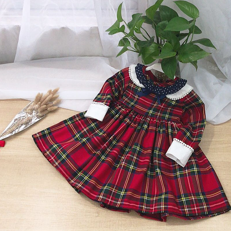 6336 Christmas Plaid Ruffles Princess Party Baby Girls Dresses Autumn Winter Kids Dresses For Girls Wholesale baby girl clothes