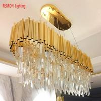 Huge LED Pendant crystal Chandelier Led lustres de cristal For Hotel Hall Dining Room Parlor Modern Large Gold Crystal Bar lamp