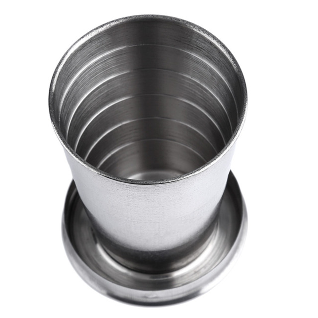 1Pc 75ml Stainless Steel Camping Folding Traveling Cup