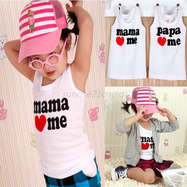 Trustworthy Online Mall Hot 2Pcs Baby Clothing Baby Boy Girl Summer T-shirt Vest Tank Tops Mama/Papa Love Me Free Shipping