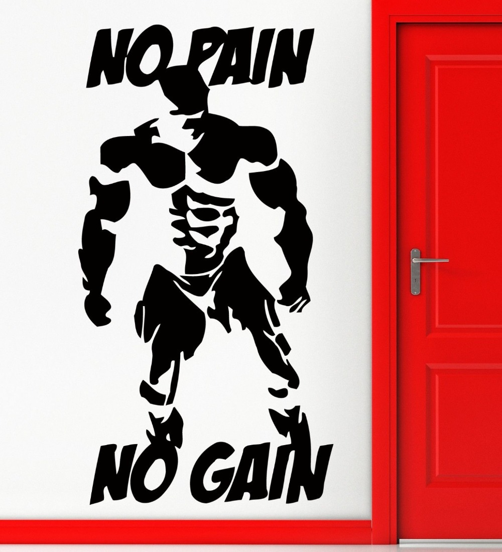 NºWall Stickers Be Strong No Pain No Gain Bodybuilding Bodybuilder ...