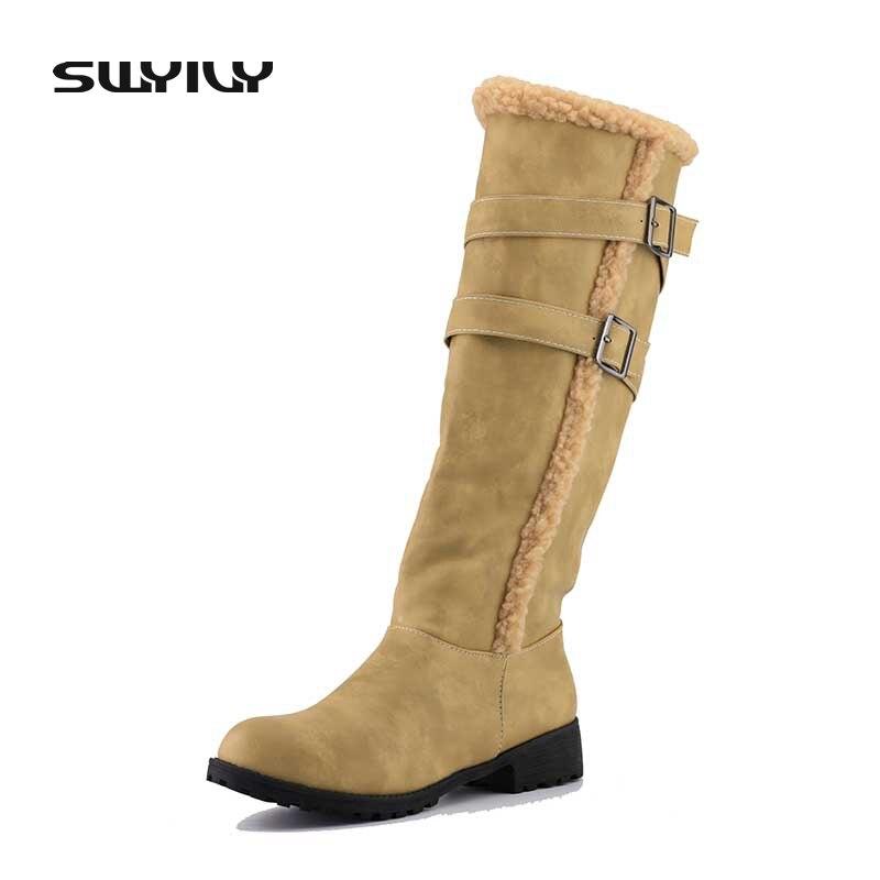 SWYIVY Women Boots High Boot Square Heel Fashion Shoes Winter Boot Knee High Boots Women Winter PU Leather Girl Shoes цены онлайн