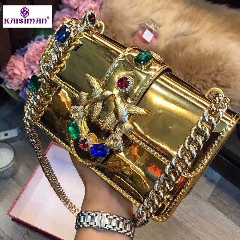 2018 Newest Fashion Gold Swallow Chains Messenger Bag Famous Brand Bags Women Handbag Genuine Leather Diamond Gem Rivet Flap Sac