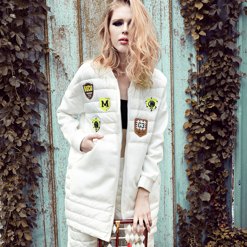 Free Shipping EMS 2015 New Women Ladies Winter Down coat Black White coat Medium-long Down Fashion Winter Outerwear Personalized