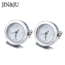 JIN&JU Men Jewelry High Quality Men Jewelry Functional Real Clock Cuff links With Battery Digital Watch Relojes Gemelos