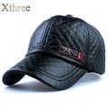 1xthree Nueva moda de alta calidad de cuero de imitación Cap otoño invierno sombrero casual gorra de béisbol del snapback para hombres mujeres sombrero al por mayor