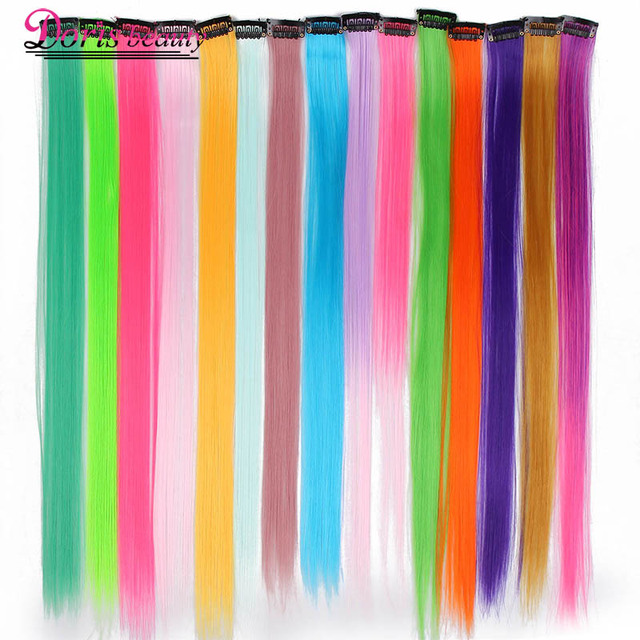 Doris Beauty 1 Clip In Pure Color Hair Extensions Red Pink Purple 19
