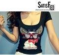 Женские летние мода футболка совок шеи короткий рукав милые очки Cat женщины тонкий футболку сексуальная клуб мода тройник бесплатная доставка