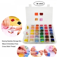 96pcs Embroidery Floss Cross Stitch Thread Kit with Threader Bobbins Sewing Needles Storage Box Embroidery Starter Kit