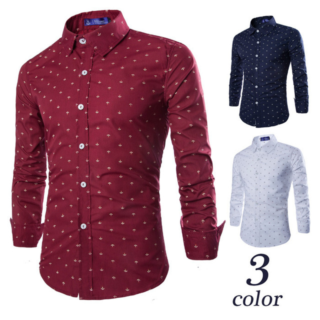 24a5daef785c8 Envío Gratis Vintage Niños Ancla Camisa de Los Hombres Marca de Moda Blanco Rojo  camisas de