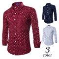 O Envio gratuito de Meninos Camisa Âncora Do Vintage Homens Vermelho Branco Da Marca de Moda camisas de Manga Longa 3 Cores Mens Azul Camisa Casual Slim Fit