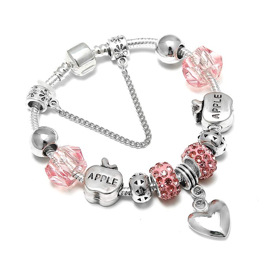 European Apple Heart Shape Charm Bracelet for Women Luxury Crystal Beads Snake Chain Brand Bracelets Silver Color Jewelry пандора браслет с шармами