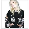 S-XXL New Fashion T-Shirt Women Short Sleeve O-Neck Black Thin Loose Tops Finger Bones Skull Punk Skeleton Print T-Shirts