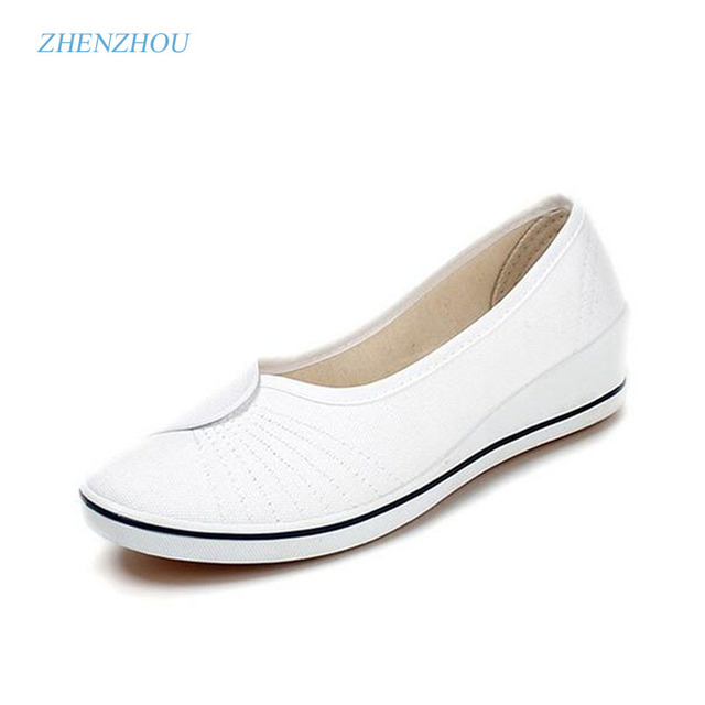 Women's shoes 2017  spring and autumn The nurse shoes white slope documentary beauty salon shoes white shoes black beauty  work