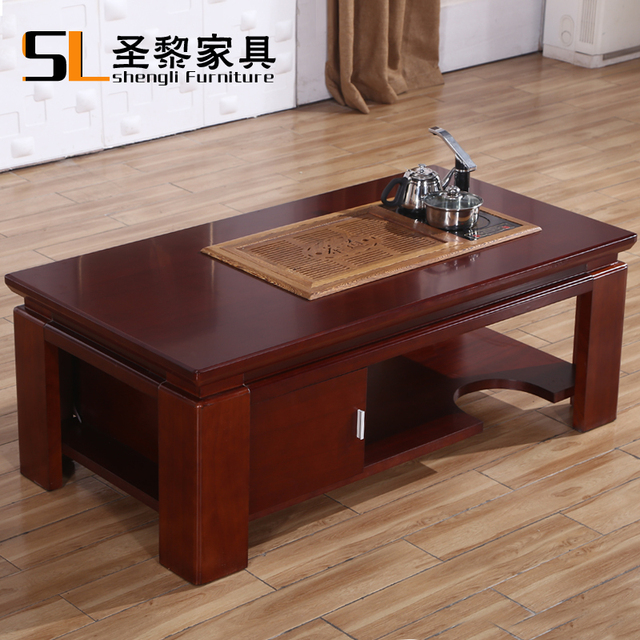 Superbe Red Walnut Wood Veneer Imitation Mahogany Double Leather Coffee Table A Few  Square Corner Office Sofa