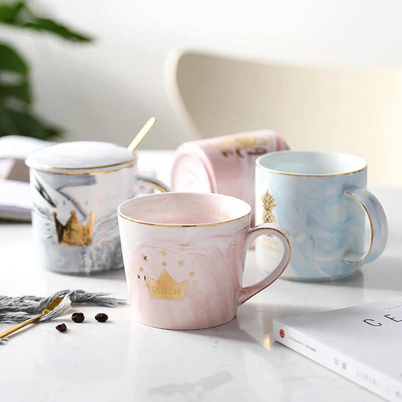 Позолоченная мраморная керамика кружки ручка кружка кофе кружка для чая молока алмаз фламинго и ананасы чашки для дома креативный подарок для пары