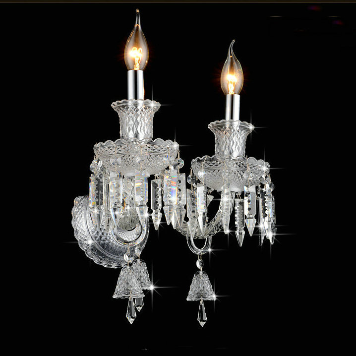Europe style luxury K9 crystal wall lamp  indoor lighting fixture for bed room entry place free shipping luxury k9 crystal chandeliers lighting fixture with different size free shipping
