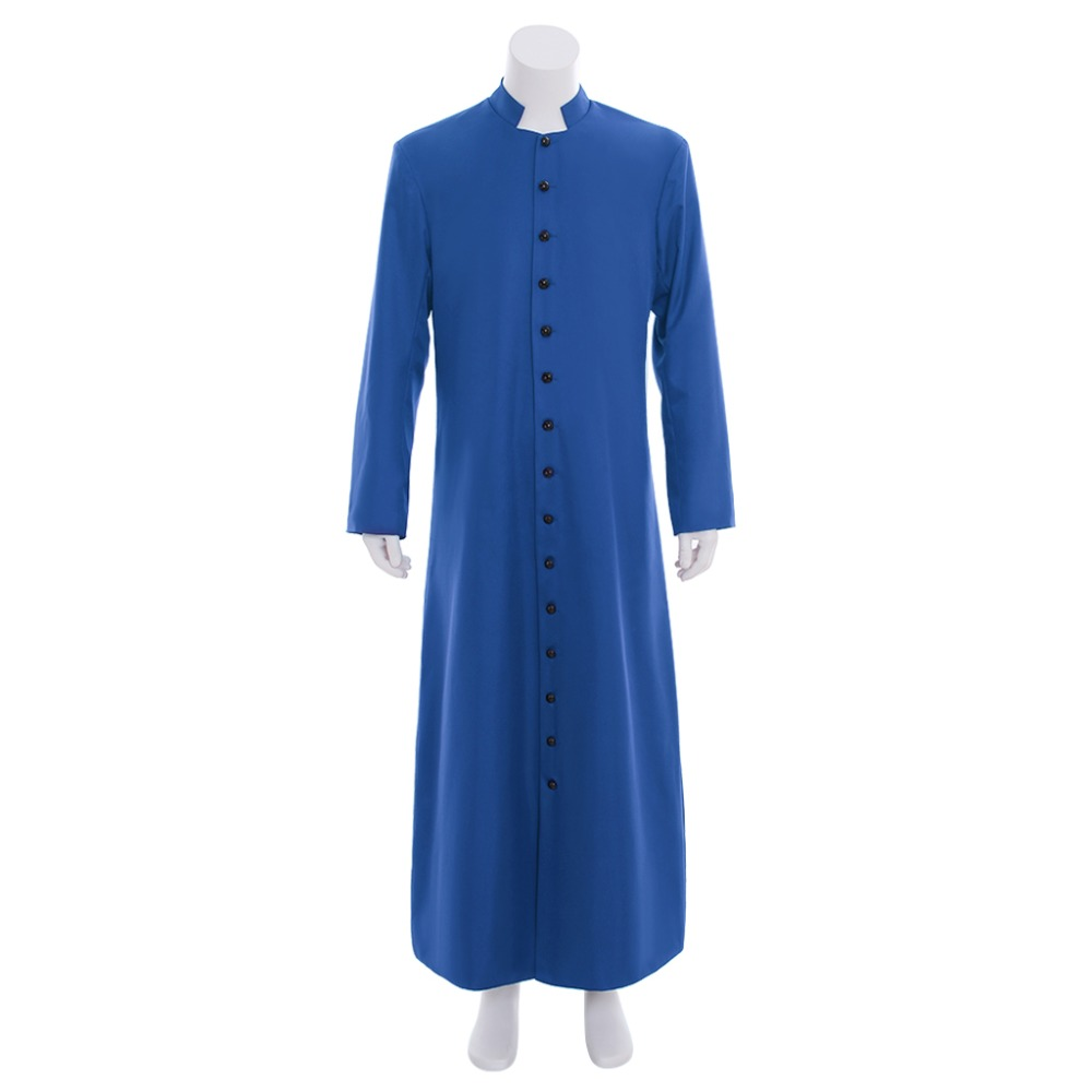 Cosplaydiy Custom Made Unisex Adult's Clergy & Pulpit Cassock Roman Blue Cassock Robe Liturgical Vestments Any Size L320