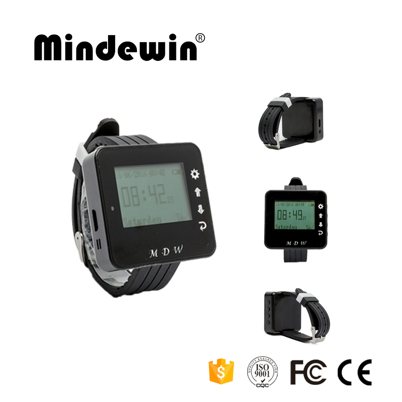Mindewin 433MHZ Watch Pager For Restaurant Wireless Calling System Call Waiter Services Smart Wrist Watch M-W-1 With LED Screen table service bell system best discount price for restaurant 433 92mhz pager with ce passed 1 watch 12 call button