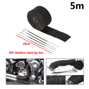Image 5 - High Quality 5cm*5M 10M 15M Titanium/Black Exhaust Heat Wrap Roll for Motorcycle Fiberglass Heat Shield Tape with Stainless Ties
