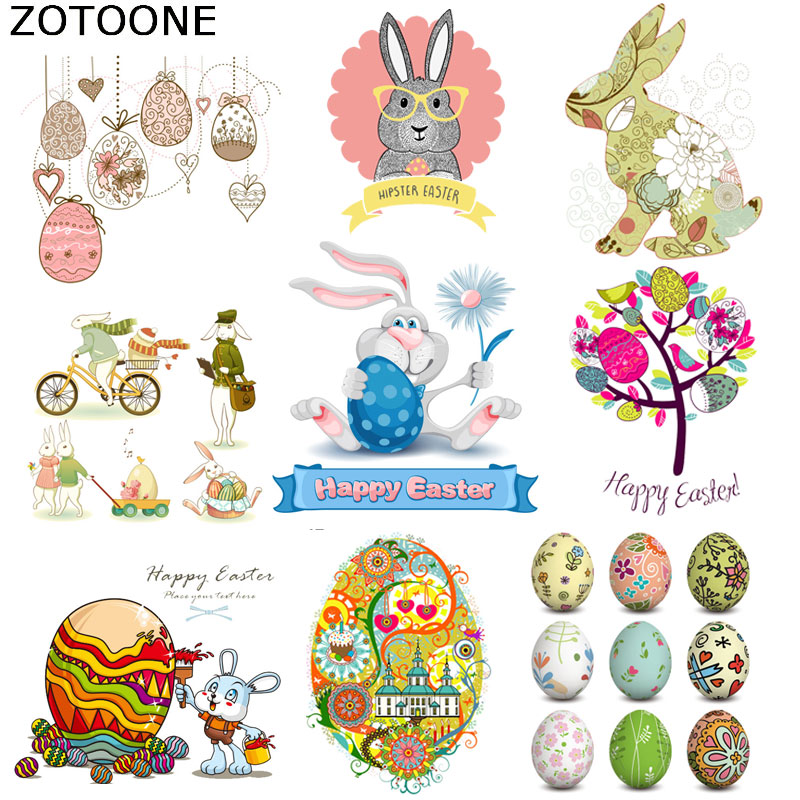 ZOTOONE Happy Easter Bunny Eggs Iron on Transfer Patches for Clothing A-Level Washable Diy Decoration Easy Print By Household C