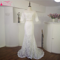 Two Pieces Mermaid Lace Wedding Dresses Half Sleeve Beach Bridal Gowns Elegant Fairy Vestidos De Noiva Real Picture ZP009