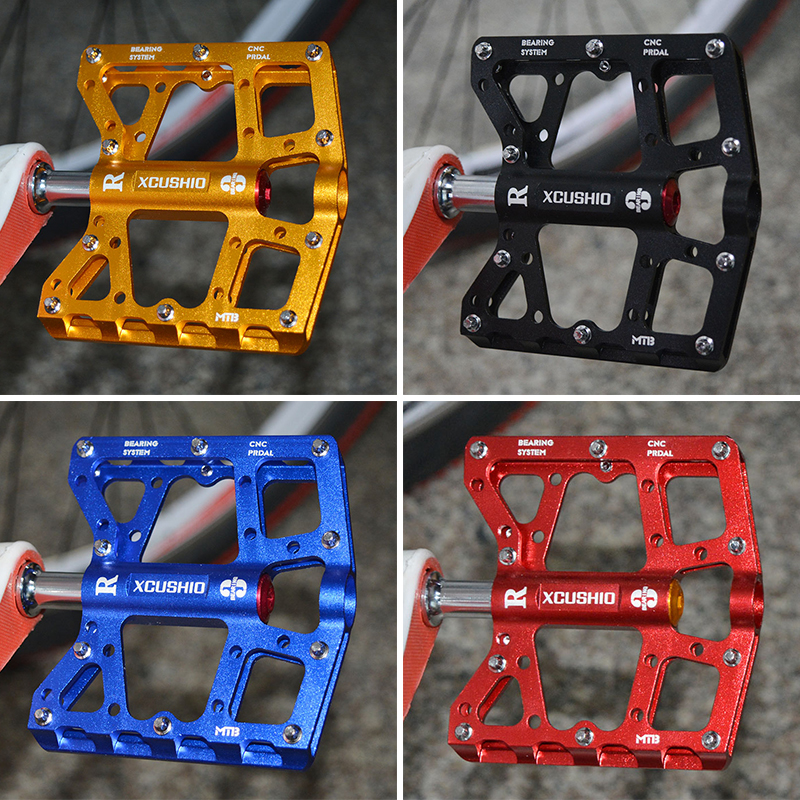 XC USHIO Bicycle Pedal Mountain Bike Sealed Bearing CNC Aluminum Alloy Cycling Pedals New Titanium Color for BMX Road Bike Parts 2016 new arrival bike pedal 4 colors board anode mountain bike nylon fiber bearing pedal bicycle anti skid dead fly feet