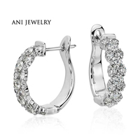ANI 18k White Gold Women Circle Earrings 2 CT Certified I S1 Natural Diamond Jewelry Women