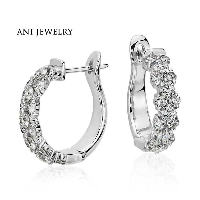 ANI 18k White Gold Women Circle Earrings 2 CT Certified I/S1 Natural Diamond Jewelry Women Engagement Earrings Fashion Design ani 18k rose gold women circle earrings fashion hip hop trendy young lady party big round hoop earrings fine jewelry gift