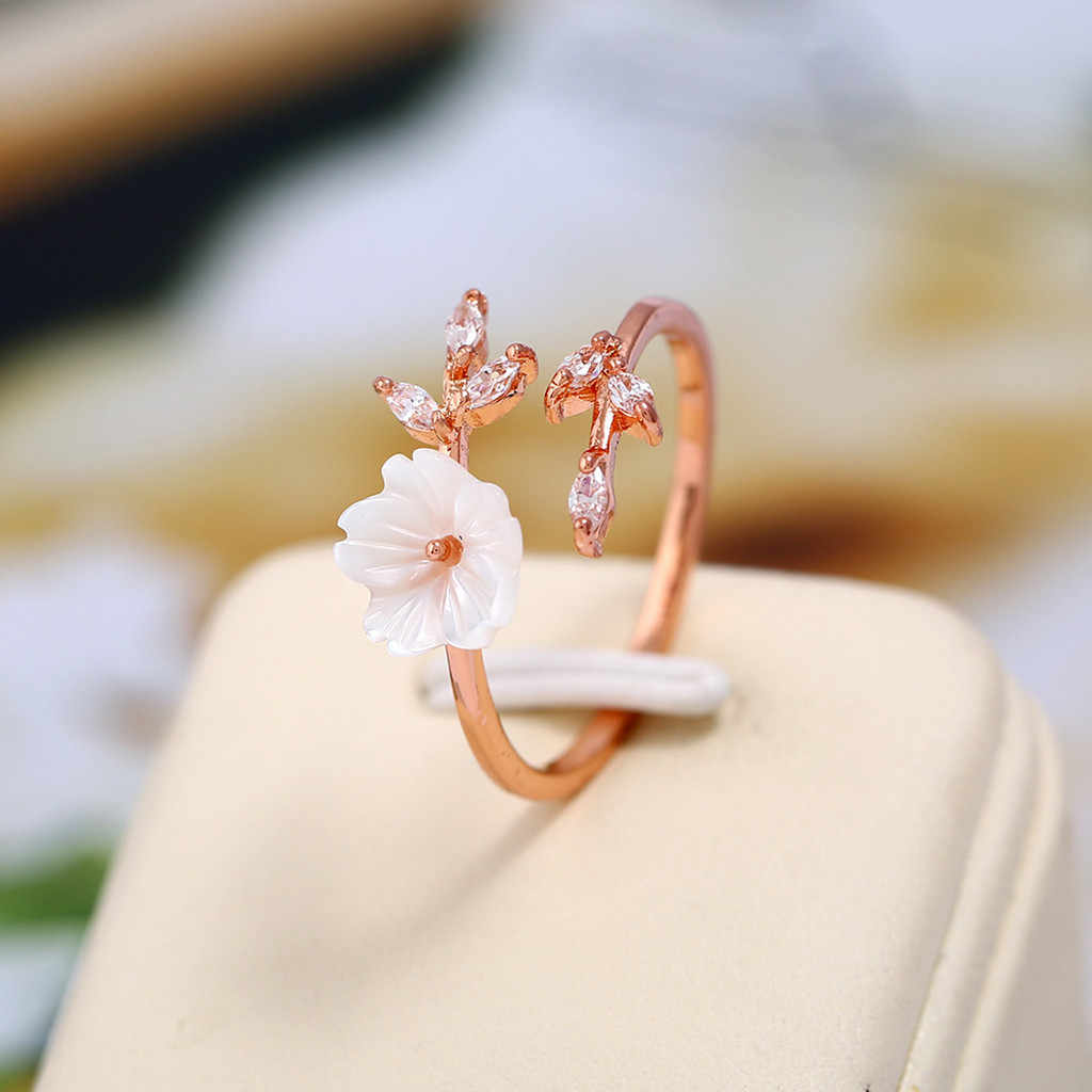 Rose Gold Beautiful Temperament Zircon Branches Leaves Shell Flowers Ring