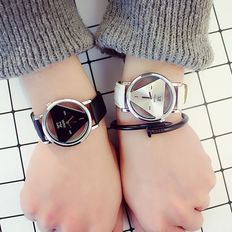 Fashion Tide Men Women Watch Hollow Quartz Casual Student Couple Watches Triangle Wristwatch
